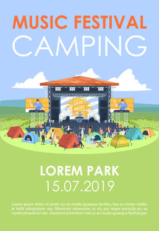 Music festival camping brochure template. Open air music fest flyer, booklet, leaflet concept with flat illustrations. Vector page layout for magazine. Advertising invitation with text space