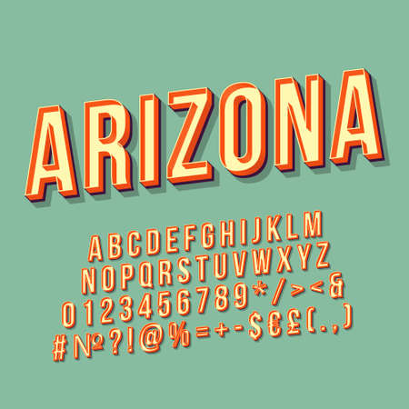 Arizona vintage 3d vector lettering. Retro bold font, typeface. Pop art stylized text. Old school style letters, numbers, symbols, elements pack. 90s, 80s poster, banner. Pistachio color background