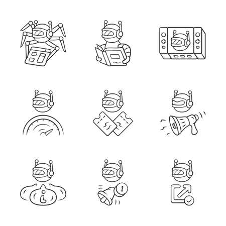 Web robots linear icons set. Crawler, text-reading, propaganda, proactive, optimizer bots. Artificial intelligence. Thin line contour symbols. Isolated vector outline illustrations. Editable stroke