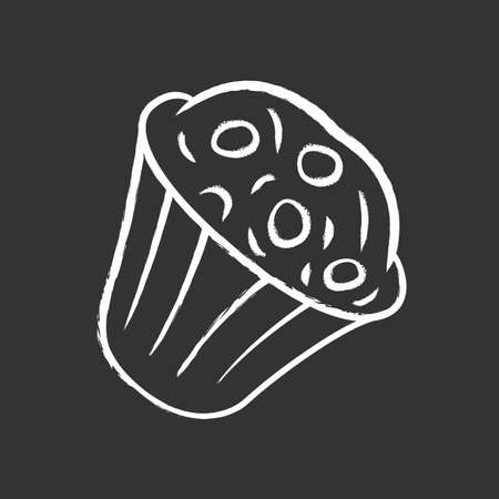 Muffin chalk icon. Cupcake with chocolate chips, berries, topping. Sweet shop, confectionery, pastry, bakery menu. Celebration cupcake. Isolated vector chalkboard illustration