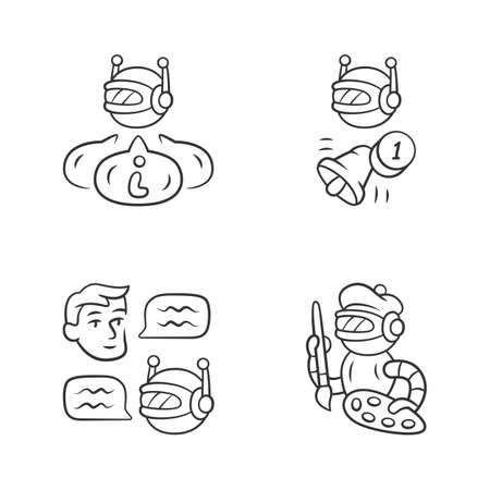 Internet robots linear icons set. Chatbot, informational, proactive bots. Cybernetics. Artificial intelligence, AI. Thin line contour symbols. Isolated vector outline illustrations. Editable stroke