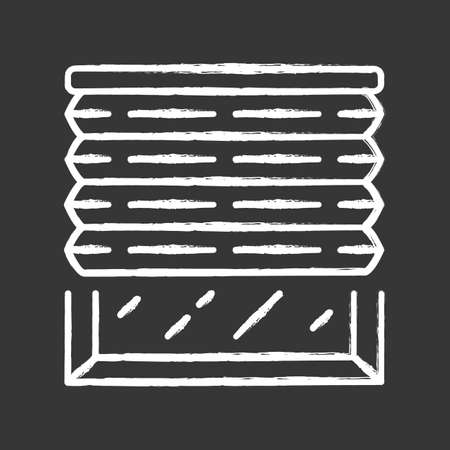 Pleated blinds chalk icon. Cellular shades. Office window blinds. Room darkening decoration, roller shutters, jalousie. Interior design, home decor shop. Isolated vector chalkboard illustration