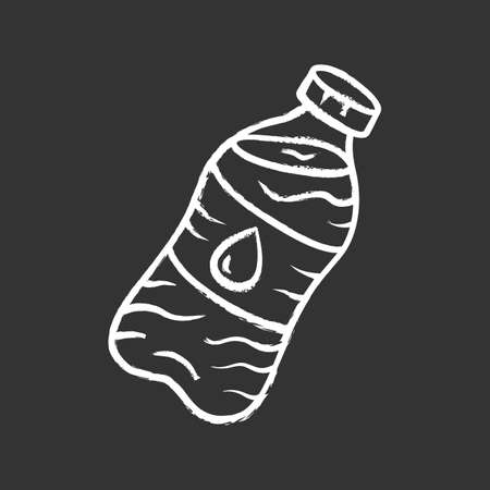 Mineral water chalk icon. Clean potable drinking water. Plastic bottle with label. Non-alcoholic refreshment drink. Non carbonated, sparkling beverage. Isolated vector chalkboard illustration