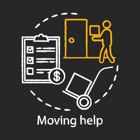 Moving help chalk concept icon. Home service idea. Packing and unpacking boxes. Loading items, furniture into truck. Heavy lifting. Vector isolated chalkboard illustration