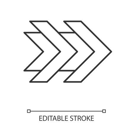 Double arrows linear icon. Fast forward right arrowhead. Rewinding button. Navigation pointer. Indicating sign. Thin line illustration. Contour symbol. Vector isolated outline drawing. Editable stroke
