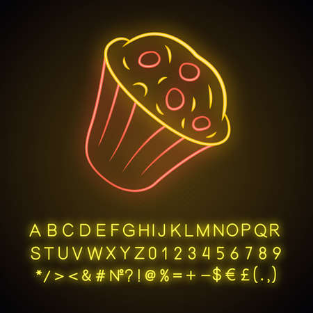 Muffin neon light icon. Cupcake with chocolate chips, berries, topping. Sweet shop, confectionery, pastry, bakery menu. Glowing sign with alphabet, numbers and symbols. Vector isolated illustration Stock fotó - 129559046