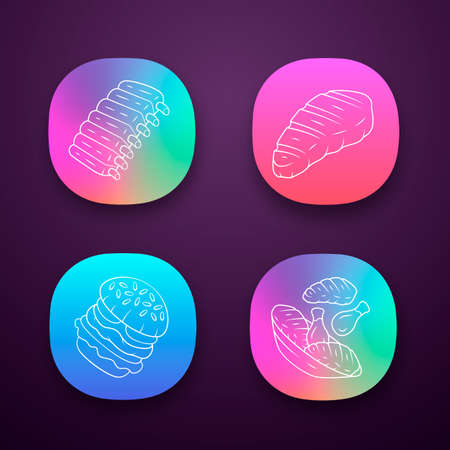 Meat dishes app icons set. Steak, beef ribs, chicken legs, burger. Fast food. Butcher shop product. Restaurant, grill bar, steakhouse menu. UIUX user interface. Web or mobile applications. Vector iso