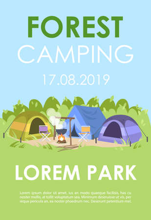 Forest camping brochure template. Summer recreation flyer, booklet, leaflet concept with flat illustrations. Vector page layout for magazine. Outdoor festival advertising invitation with text space Stock Vector - 129559051