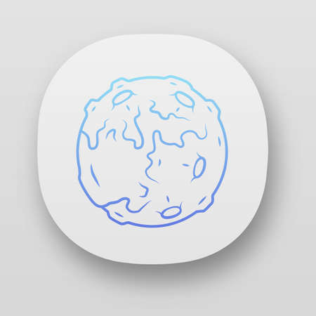 Moon app icon. Earth satellite. Fantastic planet with volcanoes. Solar system body. Astronomic. Space exploration. UIUX user interface. Web or mobile applications. Vector isolated illustrations