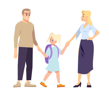 Parents and daughter schoolgirl holding hands flat illustration. First day at school.  Young father, mather and blonde preteen schoolkid. Family going to school together isolated cartoon characters