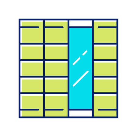 Shoji panels color icon. Traditional Japanese door, window, room divider. Oriental furniture. Home interior design. Living room, bedroom decoration. Isolated vector illustration