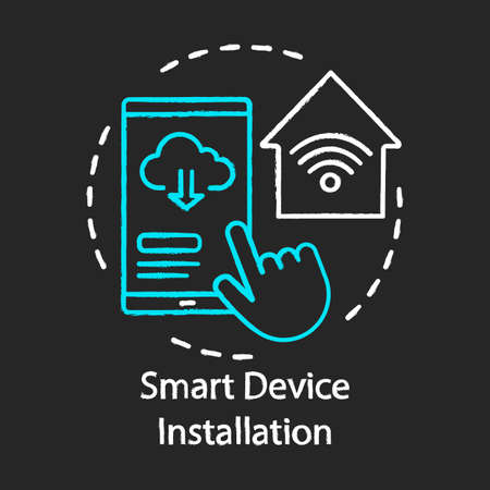 Smart device installation chalk concept icon. Home service for electronic devices idea. Smart home controller. Home automation system. Vector isolated chalkboard illustration