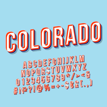 Colorado vintage 3d vector lettering. Retro bold font, typeface. Pop art stylized text. Old school style letters, numbers, symbols, elements pack. 90s, 80s poster, banner. Sky color background Ilustração