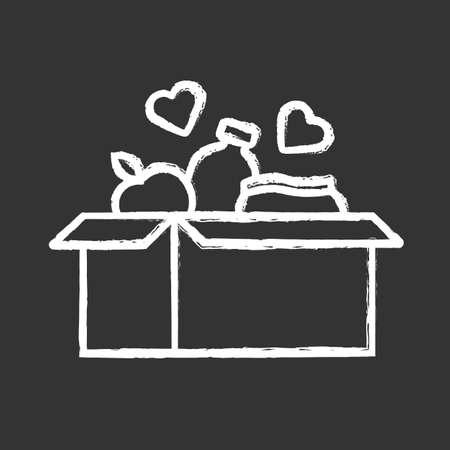 Voedsel donaties krijt icoon. Liefdadigheidsvoedselinzameling. Doos met maaltijd, harten. Humanitaire vrijwilligersactiviteit. Mensen in nood helpen. Programma ter ondersteuning van honger. Geïsoleerde vector schoolbordillustratie Vector Illustratie