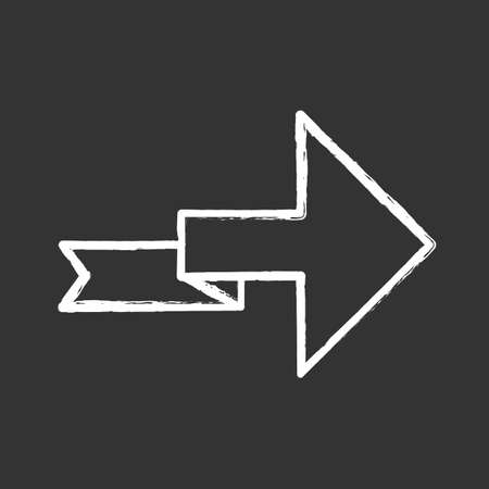 Arrow with folding line chalk icon. Right turning arrowhead. Next ribbon arrow. Navigation symbol. Indicating sign. Direction indexer. Motion designator. Isolated vector chalkboard illustration