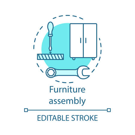 Furniture assembly concept icon. Home service idea thin line illustration. Wooden cupboard installing. Contractor repairman. House gentrification. Vector isolated outline drawing. Editable stroke
