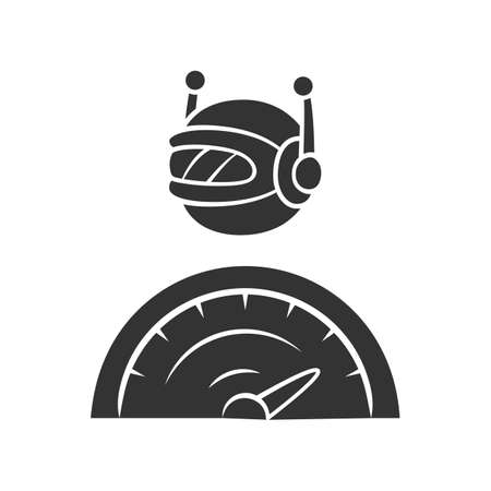 Optimizer bot glyph icon. Search engine optimization. Software program.  Artificial intelligence. Functional bot. Virtual assistance. Silhouette symbol. Negative space. Vector isolated illustration