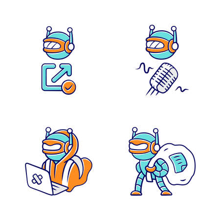 Bot types color icons set. Hacker, backlink checker, scraper bots. Malicious robot. Artificial intelligence, AI. Voice recognition. Web optimization. Computer virus. Isolated vector illustrations