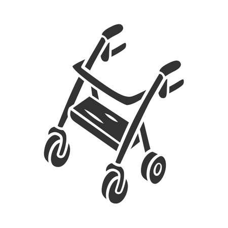 Icône de glyphe de marcheur déambulateur. Dispositif d'aide à la mobilité pour personnes handicapées physiques. Retraité, équipement de marcheur à quatre roues âgé. Symbole de la silhouette. Espace négatif. Illustration vectorielle isolée Vecteurs