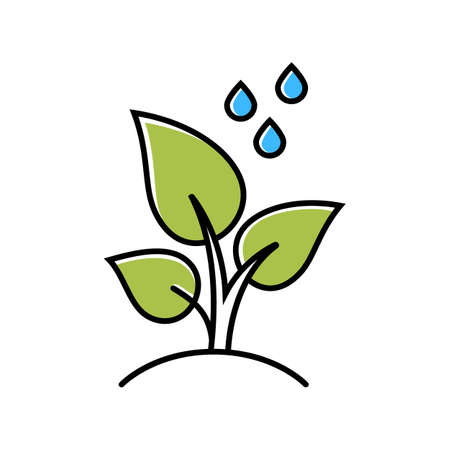 Trees planting color icon. Reforestation volunteer project. Small plant and water drops. Care of young seedling. Gardening and forestry. Social activity. Isolated vector illustration