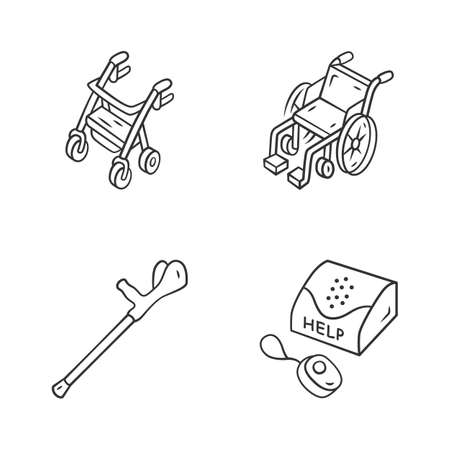 Disabled devices linear icons set. Rollator, manual wheelchair, forearm crutch, personal emergency response system. Thin line contour symbols. Isolated vector outline illustrations. Editable stroke Stock Illustratie