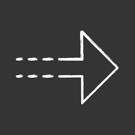 Arrow with dotted line chalk icon. Rightward direction. Arrowhead pointing to right. Navigation pointer, indicator sign. Direction move. Indicating symbol. Isolated vector chalkboard illustration