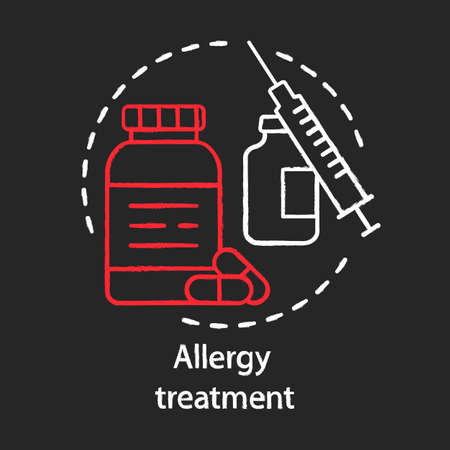 Allergy treatment chalk concept icon. Vaccination and immunization idea. Allergic diseases prevention. Pills bottle, vaccine, syringe. Vector isolated chalkboard illustration