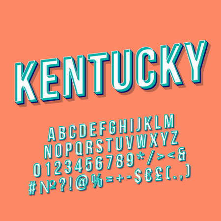 Kentucky vintage 3d vector lettering. Retro bold font, typeface. Pop art stylized text. Old school style letters, numbers, symbols, elements pack. 90s, 80s poster, banner. Pumpkin color background