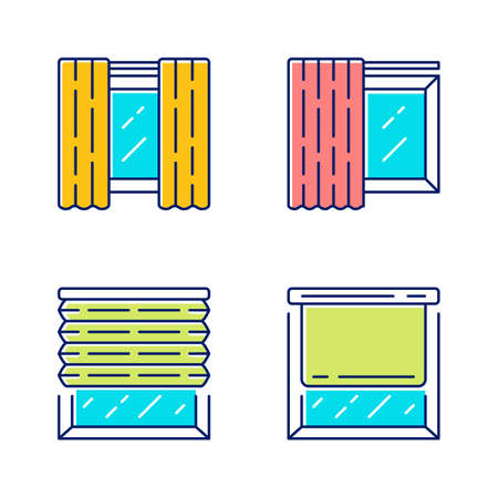 Window coverings and curtains color icons set. Panel pair, tracks, pleated blinds, roller shades. Living room, kitchen decoration. Interior design, home decor shop. Isolated vector illustrations Illusztráció