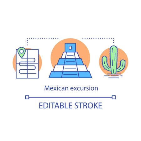 Mexican excursion concept icon. Travel program. Itinerary, pyramyd, cactus. Tourist route and attractions idea thin line illustration. Vector isolated outline drawing. Editable stroke
