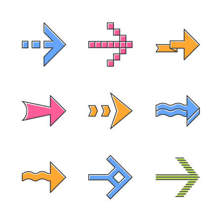 Arrows color icons set. Wavy, pixel, folding, striped, dashed next arrows. Navigation pointer, indicator sign. Arrowheads pointing to right direction. Isolated vector illustrations