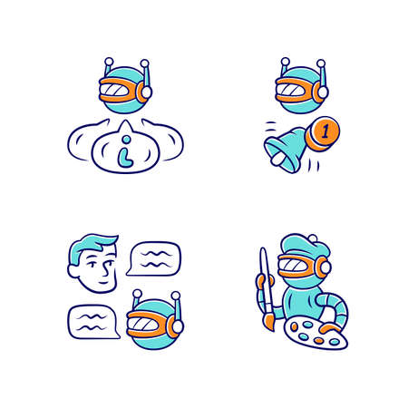 Internet robots color icons set. Chatbot, informational, proactive, art bots. Sending messages, notifications. Technology, cybernetics. Artificial intelligence, AI. Isolated vector illustrations Illusztráció