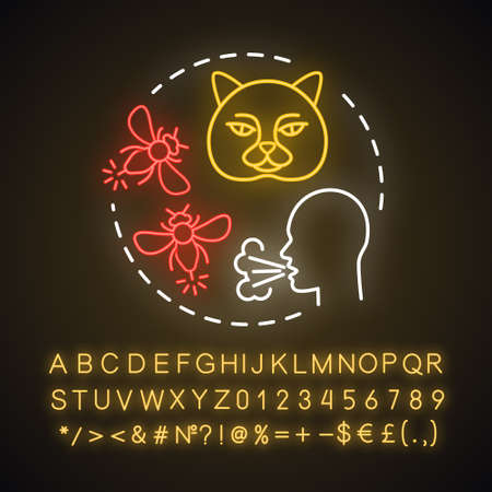 Animal allergy neon light concept icon. Allergic reaction to insect stings, cats fur, saliva. Pet allergens sensitivity idea. Glowing sign with alphabet, numbers, symbols. Vector isolated illustration Ilustração