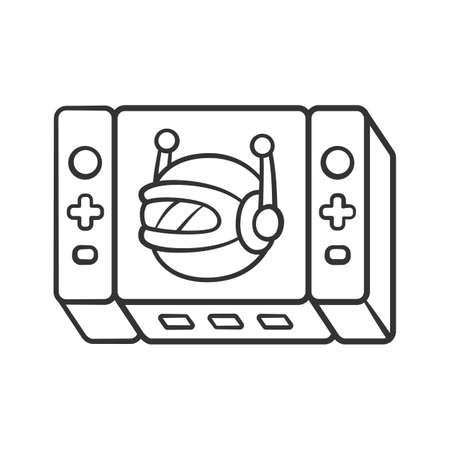 Game bot linear icon. Artificial intelligence software algorithms. Virtual reality. Non-player character. NPC. Thin line illustration. Contour symbol. Vector isolated outline drawing. Editable stroke