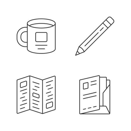 Business tools linear icons set. Office accessories thin line contour symbols. Personal cup, corporate booklet, pencil and document folder isolated vector outline illustrations. Editable stroke