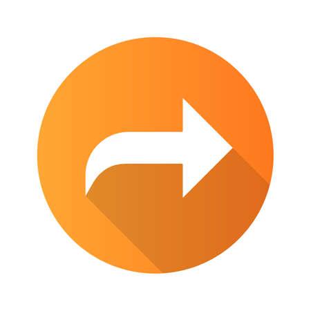 Right curved arrow flat design long shadow glyph icon. Direction sign, forward curve. Bend arrow. Motion pointer. Navigation arrowhead. Pointing cursor, designator. Vector silhouette illustration
