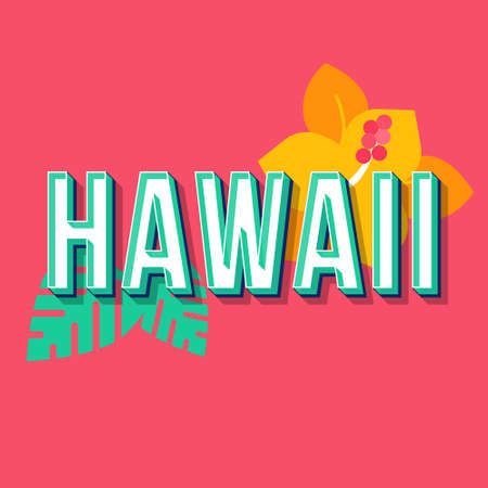 Hawaii vintage 3d vector lettering. Retro bold font, typeface. Pop art stylized text. Old school style letters. 90s, 80s poster, banner design. Tropical plant punch color background Stock Illustratie