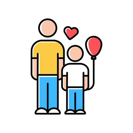 Orphans help color icon. Child adoption program. Volunteering support program for motherless kids. Foster care. Family-type children home. Isolated vector illustration Illustration