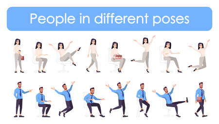 Business people flat vector characters in different poses set. Cartoon managers illustrations for animation isolated on white background. Workers in various emotions and actions, hand gestures pack