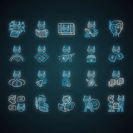 Bot types neon light icons set. Crawler, hacker, spambot, impersonator, scraper, propaganda robot. Artificial intelligence, ai. Virtual reality. Glowing signs. Vector isolated illustrations