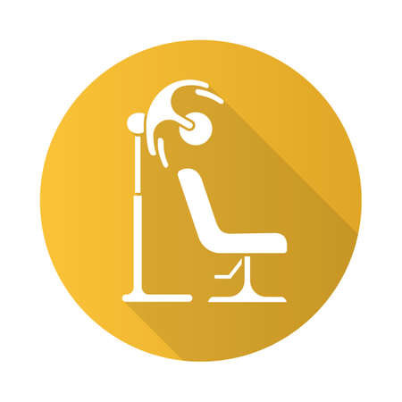 Stand hairdryer flat design long shadow glyph icon. Hood hair dryer and comfortable chair. Hairdressing salon equipment. Beauty parlour furniture. Barbershop service. Vector silhouette illustration