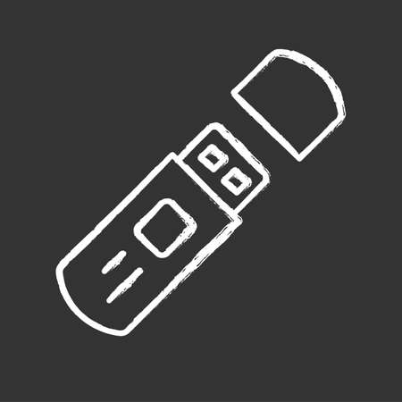 USB flash drive, external data storage chalk icon. Portable electronic device isolated vector chalkboard illustration. Wireless computer technology, PC accessory. Memory hardware, cryptographic key