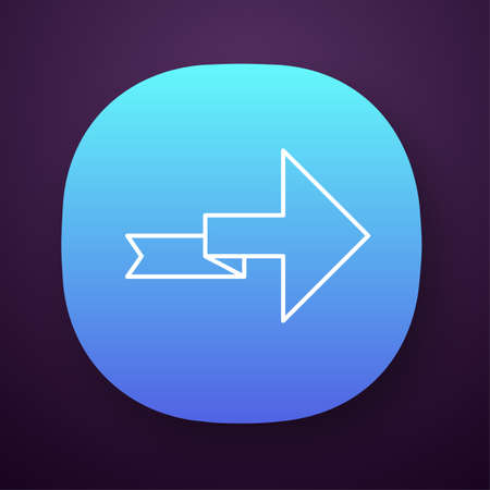 Arrow with folding line app icon. Right turning arrowhead. Next ribbon arrow. Navigation symbol. Direction indexer. UIUX user interface. Web or mobile application. Vector isolated illustration Ilustração