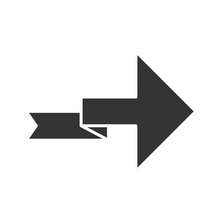 Arrow with folding line glyph icon. Right turning arrowhead. Next ribbon arrow. Indicating sign. Direction indexer, indicator. Silhouette symbol. Negative space. Vector isolated illustration Ilustração