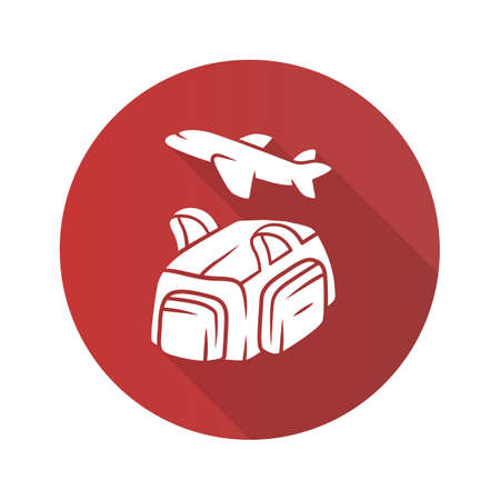 Flight, travelling bag flat design long shadow glyph icon. Carry on duffel luggage, baggage pack. Handbag for travel, tourism. Bag with handles, pockets. Vector silhouette illustration