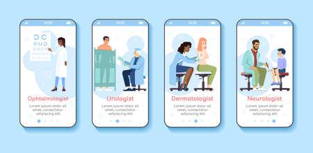 Modèle d'écran d'application mobile d'intégration d'examen médical. Ophtalmologiste, urologue, dermatologue, neurologue. Site Web pas à pas avec des caractères plats. Interface de dessin animé pour smartphone UX, UI, GUI