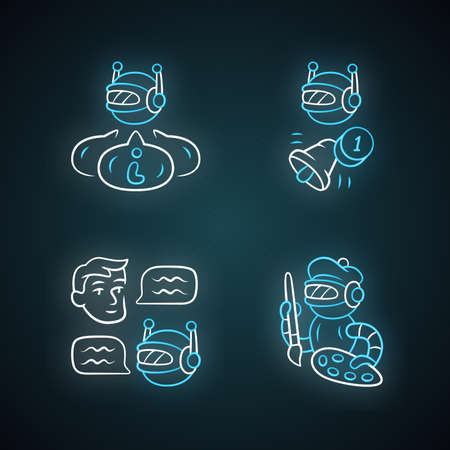 Internet robots neon light icons set. Chatbot, informational, proactive, art bots. Sending messages. Technology, cybernetics. Artificial intelligence, AI. Glowing signs. Vector isolated illustrations