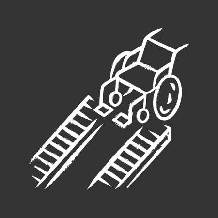 Wheelchair ramp chalk icon. Device for physically disabled people. Transportation in urban environment. Manual wheel chair, mobility aid, handicapped equipment. Isolated vector chalkboard illustration
