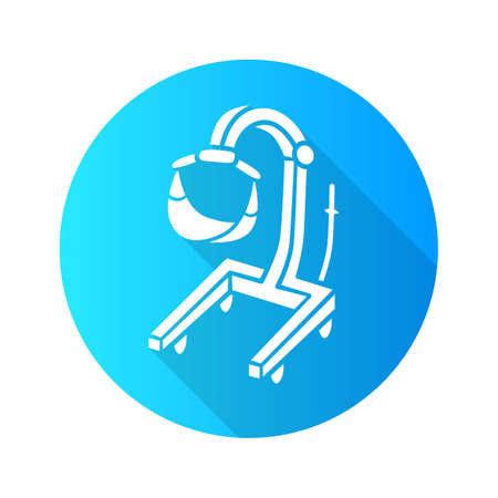 Patient lift  flat design long shadow glyph icon.  Physically disabled people lifter device. Transferring immobile hospital patient. Handicapped equipment, mobility aid. Vector silhouette illustration