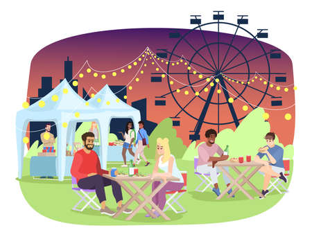Summer night fair flat vector illustration. Amusement park, funfair, carnival, festival entertainment. Couple eating at outdoor cafe on fairground cartoon characters. Food stalls and ferris wheel Ilustração
